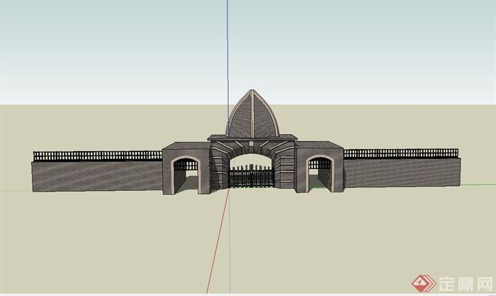 某欧式风格独特城门设计su模型[原创]