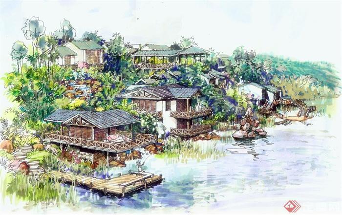 湿地公园景观手绘效果图[原创]