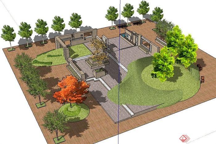 简约小公园绿化环境设计su模型[原创]