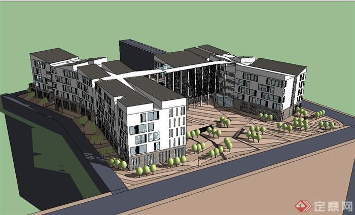现代风格山地多层学校建筑楼设计su模型[原创]图片
