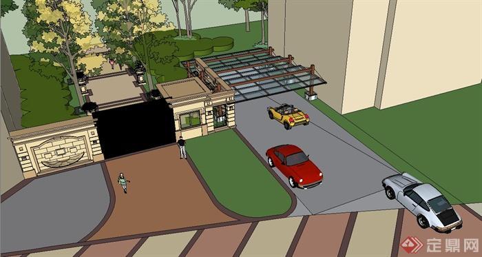 某欧式风格小区大门及车库入口设计su模型[原创]