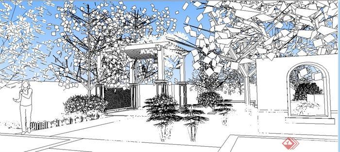 别墅庭院景观设计方案(jpg、su)(6)