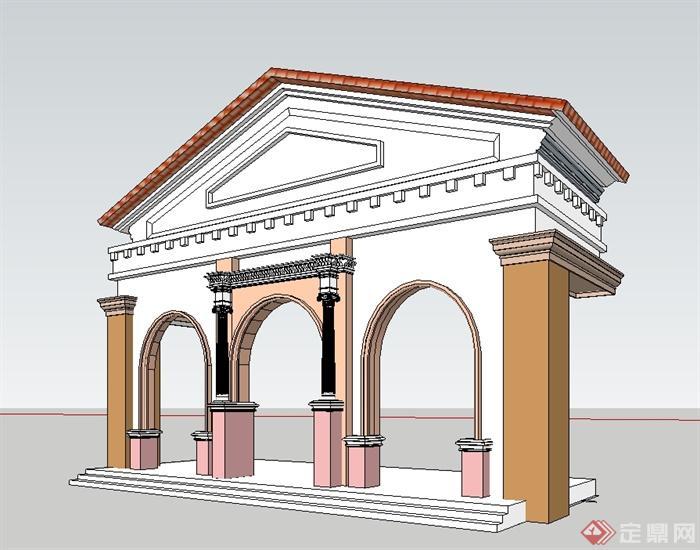 欧式风格建筑门头入口设计su模型[原创]