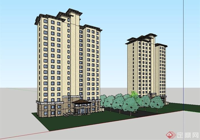 欧式高层住宅楼详细设计su模型[原创]