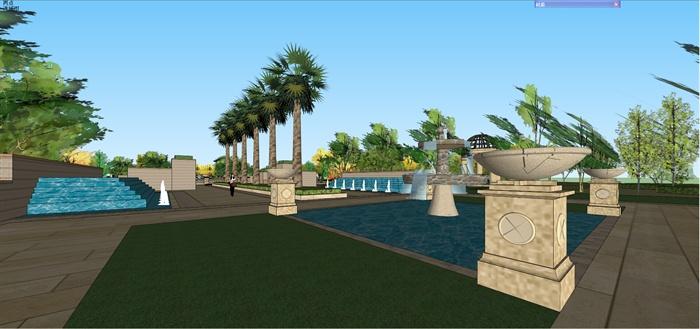 某欧式风格住宅小区景观场景设计su模型[原创]
