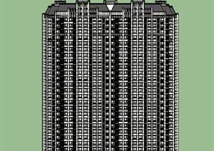 高层拼接式公寓住宅楼建筑设计SU(草图大师)模型-SKP现代高层建