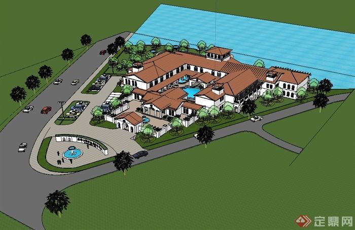 地中海风格滨水会所建筑设计su模型图片
