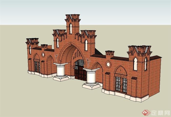 某欧式风格会所建筑构件门头及大门设计su模型[原创]