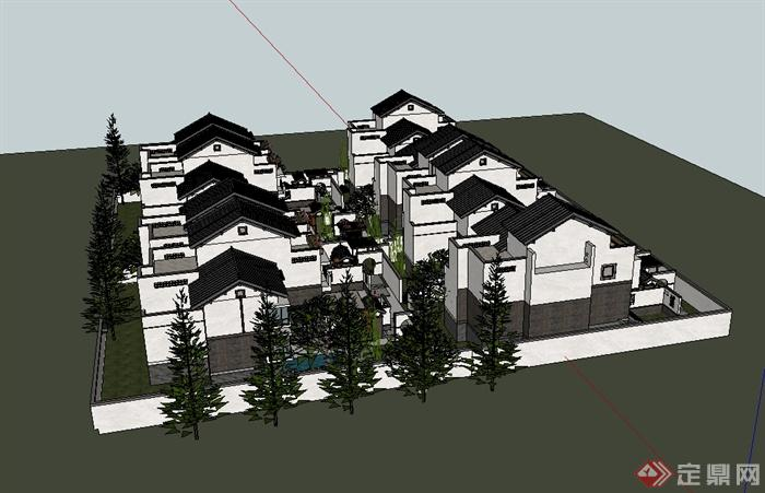 徽派丶新中式风格小区别墅楼建筑设计su模型[原创]