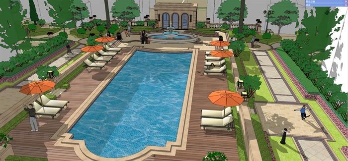 欧式风格住宅小区中庭景观设计su模型