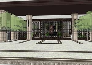 新古典风格小区景观轴线SU(草图大师)模型