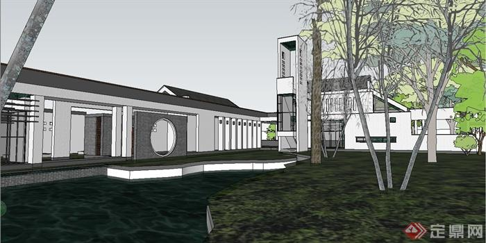 某现代中式风格徽派休闲商业街建筑设计su模型[原创]图片