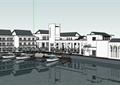 某精美现代中式风格滨海会所建筑设计SU模型