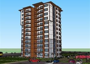 中式公寓住宅楼建筑设计SU(草图大师)精品模型-现代中式建筑规划