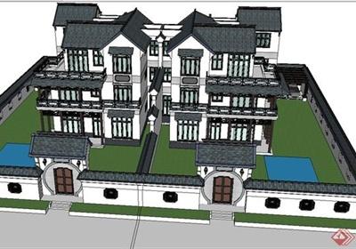 某现代中式风格四栋叠拼别墅建筑设计SU模型