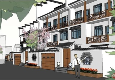 某精致现代中式风格别墅区建筑设计SU模型