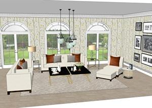 简约古典客厅室内装修设计SU(草图大师)模型