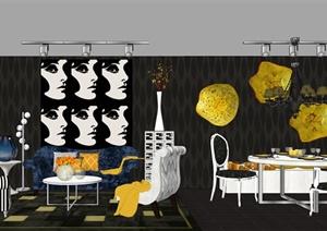 新古典客餐厅详细设计SU(草图大师)模型