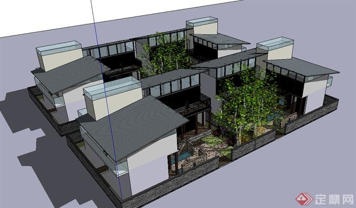 中国中式风格双拼别墅建筑设计su模型