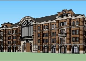 某精致欧式风格多层商业楼建筑设计SU(草图大师)模型