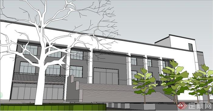 某现代中式风格徽派政府办公建筑设计su模型(4)图片