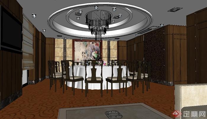 某现代中式餐厅室内风格原创v餐厅su模型[说明]海南三亚标志设计包房图片