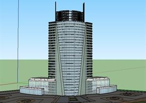 现代高层广播电台建筑设计SU(草图大师)模型