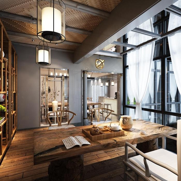 新中式茶室空间设计3d模型
