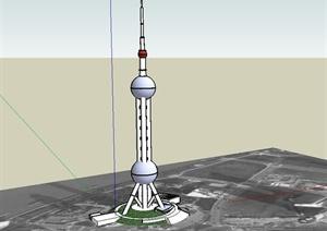 上海东方明珠电视塔建筑楼SU(草图大师)模型