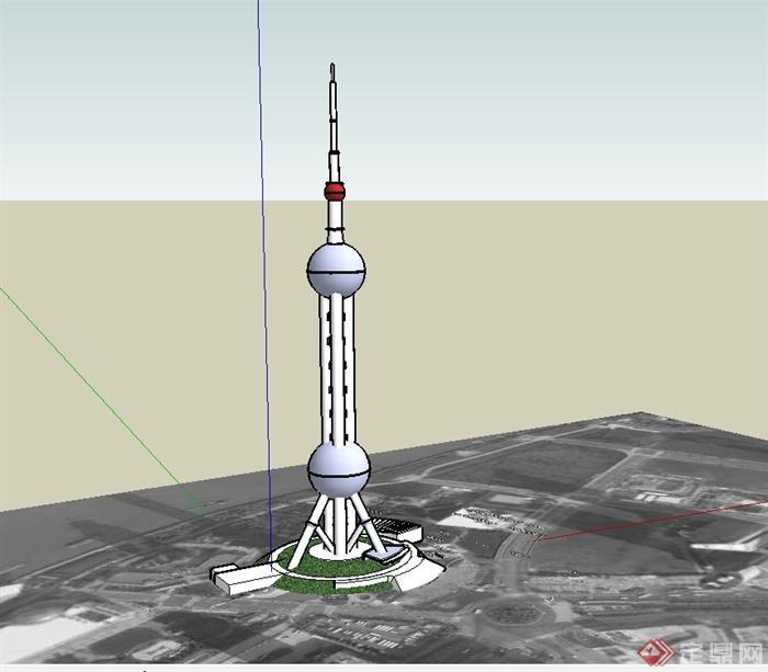 上海东方明珠电视塔建筑楼su模型(1)