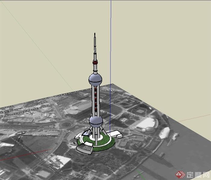 上海东方明珠电视塔建筑楼su模型(3)