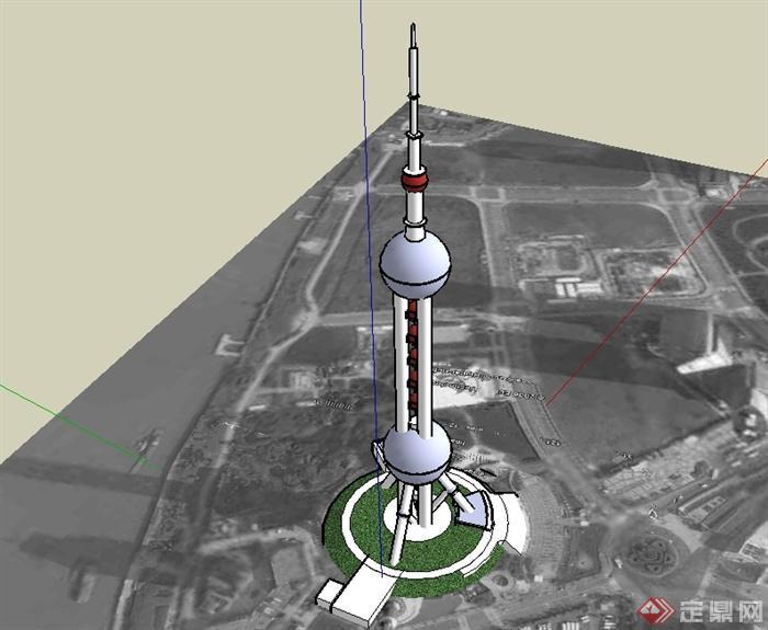 上海东方明珠电视塔建筑楼su模型(2)