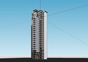 式风格高层公寓住宅建筑设计SU(草图大师)模型-建筑规划设计方
