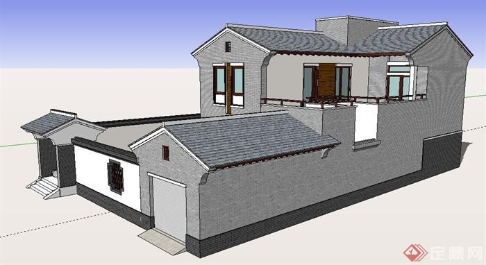 中式风格二层乡村别墅住宅建筑设计su模型[原创]