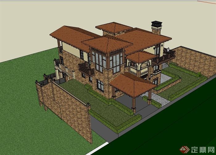 欧式别墅带游泳池建筑设计su模型