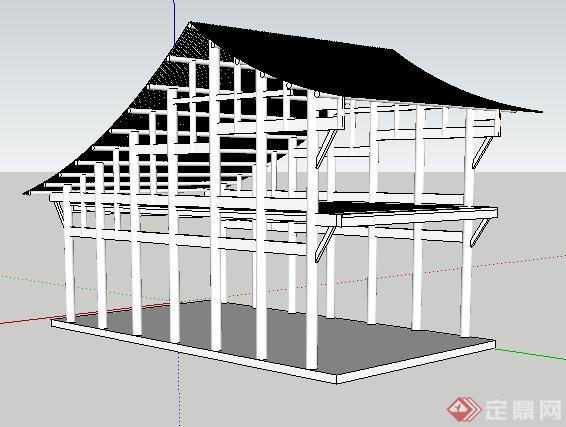 某古建筑结构设计su模型[原创]