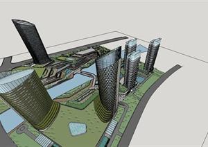 某精致现代商业综合体建筑规划设计SU(草图大师)模型