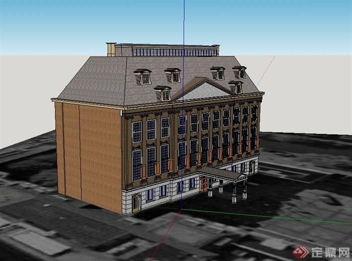 某欧式风格精致政府办公楼设计su模型(3)