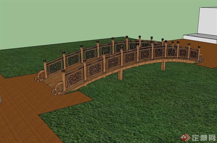 国古典中式风格木质园桥设计su模型