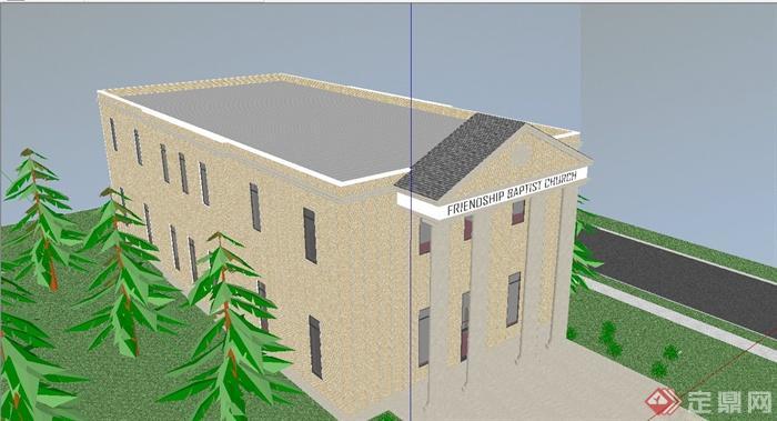 某欧式风格学校阶梯教室建筑设计su模型[原创]