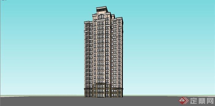 某欧式高层小区住宅楼建筑设计su模型[原创]
