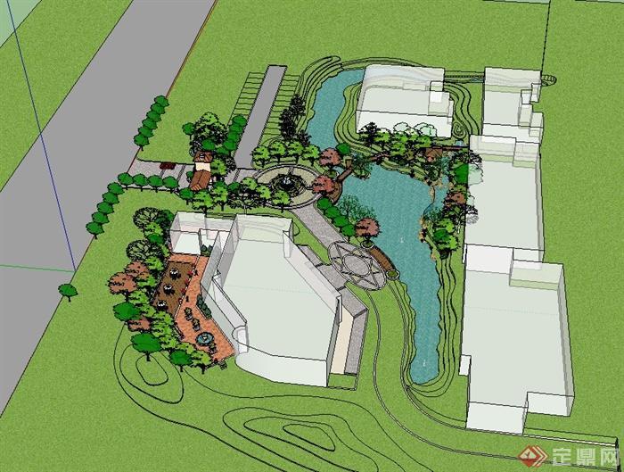 某欧式风格住宅小区中庭景观设计su模型[原创]