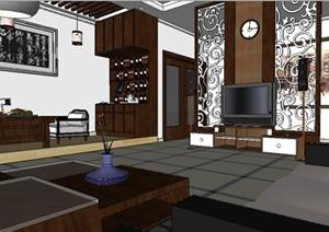 古典中式住宅客厅室内装修SU(草图大师)模型