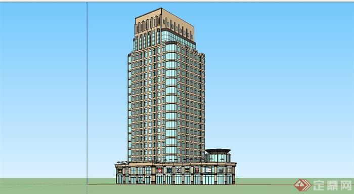 某欧式风格高层商业办公楼建筑设计su模型[原创]
