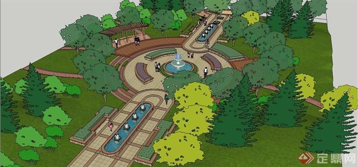 某欧式风圆形广场景观规划设计su模型[原创]