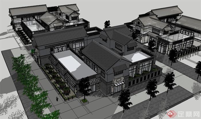 某现代中式风格多层商业楼详细建筑su模型[原创]