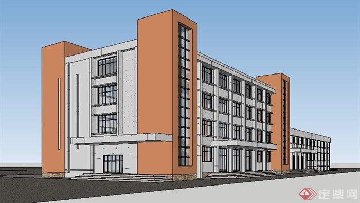 现代学校4层办公楼建筑设计su花纹[原创]模型衣服图片