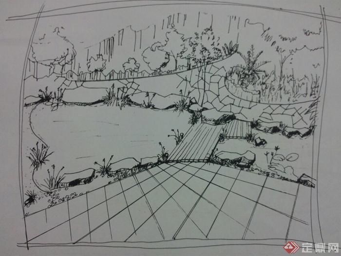 手绘画册-河流景观河流河流水景河流地区-设计师图库