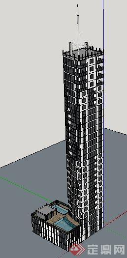 现代高层广播中心建筑设计su模型(2)