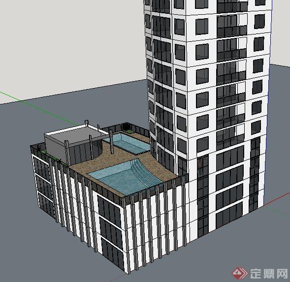 现代高层广播中心建筑设计su模型(4)